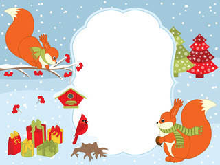 Vector Christmas and New Year Card Template with Squirrels, Cardinal, Gift Boxes and Birdhouses on Snow Background.