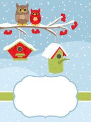 Vector Christmas and New Year Card Template with Owls on the Branch and Birdhouses on Snow Background.