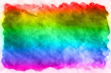 Abstract watercolor background of multi-colored ink stains of all spectral colors. Background image made with watercolors in a rainbow color solution