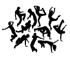 Happy Break Dance Expression Silhouettes, art vector design