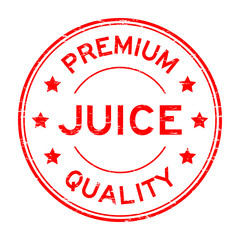 Grunge red premium quality juice round rubber seal stamp on white background
