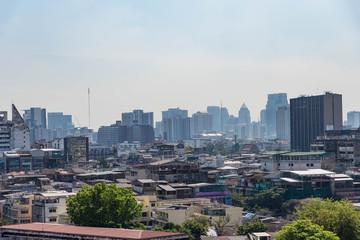 タイ・バンコクのワット・サケット(黄金の丘)から望むバンコクの景色
