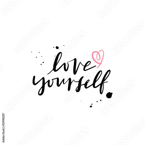 Quot modern brush calligraphy love yourself hand lettering