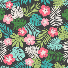 Hibiscus and tropical leaf seamless pattern background