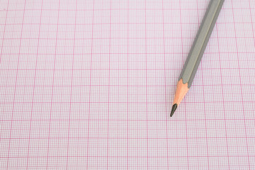 pencil on red graph paper (grids)