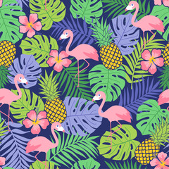Flamingo, hibiscus, pineapple and tropical leaf seamless pattern background