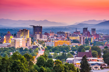 Fototapete - Asheville, North Carolina, USA skyline.