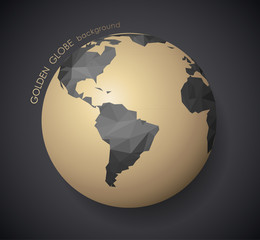 Golden globe with dark polygonal continents and shadow.