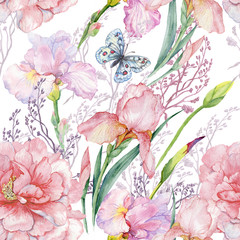 seamless pattern .irises peonies flowers butterfly.exotic print fabric,Wallpaper.watercolor illustration.