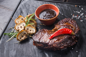 steak with red chilli pepper