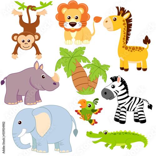 Jungle animals. Lion, elephant, giraffe, monkey, parrot, crocodile, zebra and rhinoceros