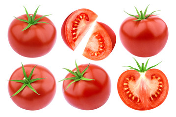 Fototapeta Tomatoes isolated. Fresh cut tomato set isolated on white background with clipping path obraz