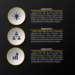 Modern elegant infographics number options template. Layered text data vector illustration with icons. Can be used for workflow layout, business step options, banner, web design.