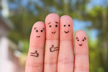 Fingers art of family. Concept of group of people on vacation.