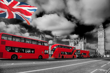 Garden Poster London red bus London with red buses against Big Ben in England, UK