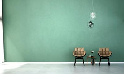 3D rendering interior design of Green wall living room Wall mural
