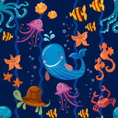 Sea animals seamless pattern, octopus, fish, whale, jellyfish, turtle, crab cartoon Cute Sea life seamless background vector