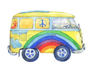 Old-fashioned  yellow hippie сamper bus, painted in rainbow colors. Watercolor hand drawn painting illustration, isolated on white background.