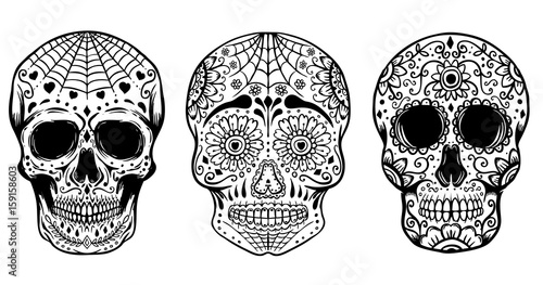 set of hand drawn sugar skulls isolated on white background day of