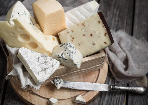 arrangement of gourmet cheeses