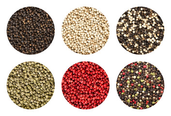 Six variations of peppercorns in circles over white background. Black, white, green and pink pepper. Dried berries of Piper nigrum and Schinus terebinthifolia used as spice and seasoning. Food photo.