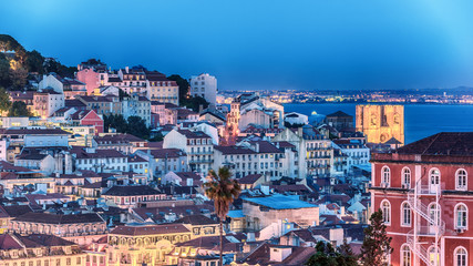 Lisbon, Portugal: aerial view the old town at sunset