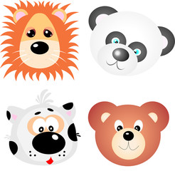 Animal Faces Clip Art Vector Design