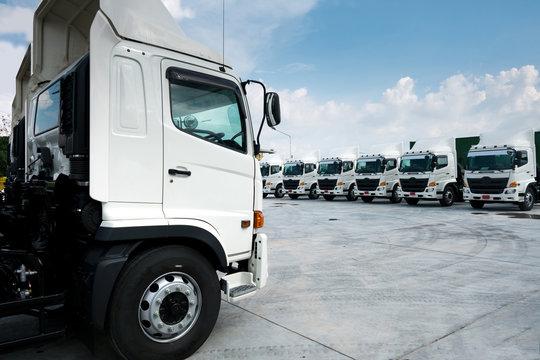 Truck fleet in depot.