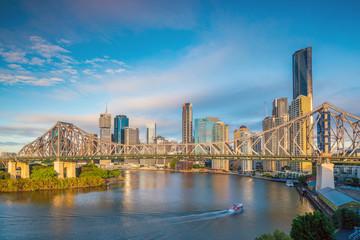 Fotomurales - Brisbane city skyline and Brisbane river