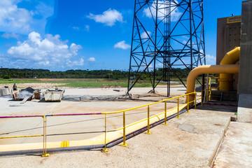 KOUROU, FRENCH GUIANA - AUGUST 4, 2015: Facilities of Ariane Launch Area 3, launch pad of Ariane 5 rockets, at Centre Spatial Guyanais (Guiana Space Centre) in Kourou, French Guiana