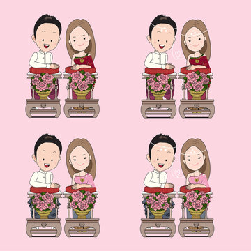 Thai wedding cartoon in blessed water traditional ceremony