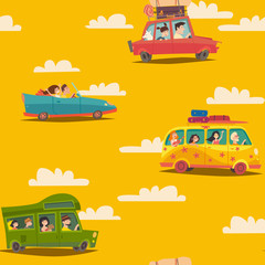 Travel by car seamless vector pattern, cartoon style. Bus, van and car with happy people on vacation wallpaper. Hand drawn objects. Summer holidays colorful backdrop