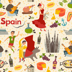 Fototapete - Spanish landmark pattern vector background. Hand draw backdrop with Spain icon. Cartoon abstract seamless pattern. Wallpaper with flamenco, guitar, bullfight and food