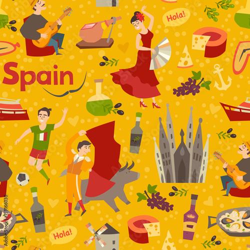Spanish landmark pattern vector background hand draw backdrop spanish landmark pattern vector background hand draw backdrop with spain icon cartoon abstract seamless voltagebd Gallery