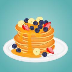 pancake with strawberry blueberry banana split and honey. sweet classic breakfast.vector illustration.