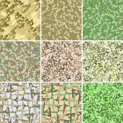 Green and brown military camouflage. Stain and pixel background. Seamless pattern