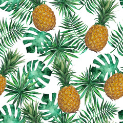Seamless pattern with pineapple and leaves. Tropical, exotic, fashion. Watercolor, hand drawn