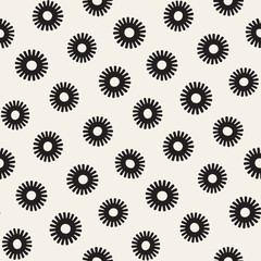 Vector seamless sunburst shapes freehand pattern. Abstract background with round brush strokes. Hand drawn texture