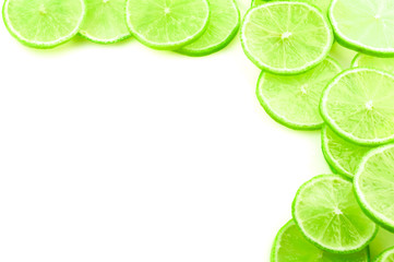 A frame of their slices of lime on a white background