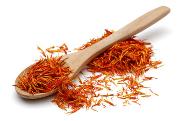 Saffron with wooden spoon