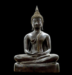 Black iron Buddha On a black background,Buddha meditation