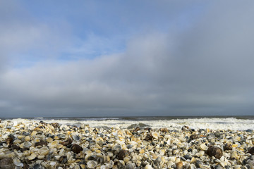 Landscape with sea view, waves and sea shells, clouds, photographed in Gura Portiţei, Romania, in cloudy spring day