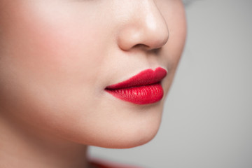 Red Sexy Lips closeup. Make up concept. Beautiful Perfect Lips.