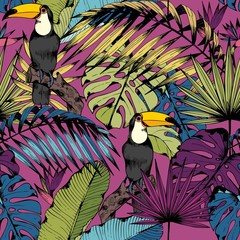 Vector seamless pattern with tropical branches, leaves and birds. Hand drawing.