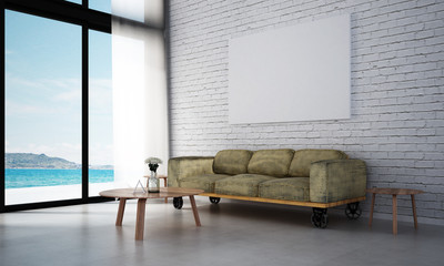 The interior design of minimal living room and white brick wall and sea view