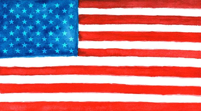 American flag in watercolor.