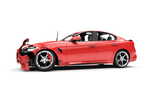 Red car crash on a white background
