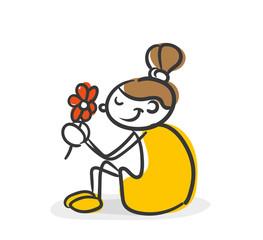 Strichfiguren Kinder Mädchen Blume
