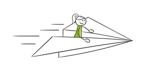 Stick Figure Series Green Woman / Papierflieger