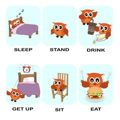 verb word vector background for preschool.verb set (sleep stand drink get up sit eat).vector illustration.